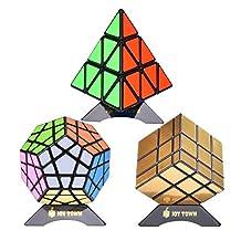 JOYTOWN Bundle Pack Speed Cube Set of 3 Pyraminx Pyramid Speedcubing, Megaminx Magic Cube, Gold Mirror Cube Magic Twisty Puzzle, With Bonus three stands and Screwdriver Black