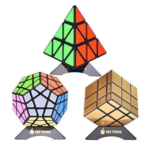 Triangle Cube Magic - Bundle Pack Speed Cube Set of 3 Pyraminx Pyramid Speedcubing, Megaminx Speed Cube, Gold Mirror Cube Magic Twisty Puzzle, With Bonus Three Stands and Screwdriver Black