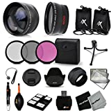 Essential 58mm Accessory Kit for CANON EOS REBEL T5i T4i T3i T2i T1i XTi XT SL1 XSi, EOS 700D 650D 600D 55D DSLR Cameras - Includes: High Definition Wide Angle Lens with Macro Closeup feature, + High Definition 2X Telephoto Lens + 3 Piece HD Filter Set + + Ring Adapters to from 46-62mm + 58mm Tulip shaped Hard Lens Hood + 58mm Soft Rubber Lens Hood + 58mm Lens Cap + Universal Card Reader + Mini Ta