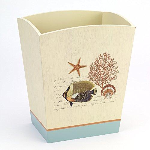 Avanti Linens 13827FMUL Seaside Vintage Waste Basket, Medium, Multicolor (Avanti Collection)