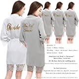 PROGULOVER Set Of 5 Women's Cotton Kimono Bridesmaid Robes For Bridal Party Wedding Shower Robe With Blush Gold Glitter Robes