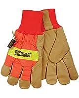 KINCO 1938KW-M Men's High Visibility Lined Pigskin Safety Cuff Gloves, Heat Keep Thermal Lining, Knit Wrist, Medium, Orange