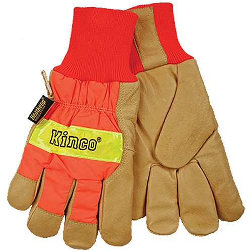KINCO 1938KW-L Men's High Visibility Lined Pigskin Safety Cuff Gloves, Heat Keep Thermal Lining, Knit Wrist, Large, Orange
