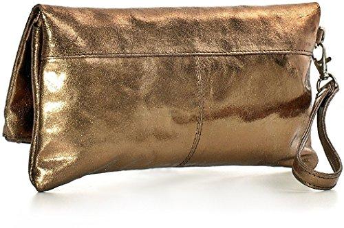 CNTMP - bolso para señora, clutch, bolso clutch,bolso de cuero metálico, bolsos de tendencia, bolsas, bolso de fiesta, bolso de mano, 25 x 13 x 2, 5 cm (l x an x a) Bronce