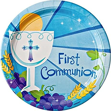 Blue First Communion Round Dinner Paper Plates Religions Party Disposable Tableware and Dishware 10 1  sc 1 st  Amazon.com & Amazon.com: Blue First Communion Round Dinner Paper Plates Religions ...
