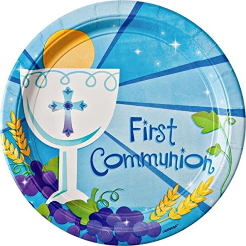 Blue First Communion Round Dinner Paper Plates Religions Party Disposable Tableware and Dishware, 10 1/2