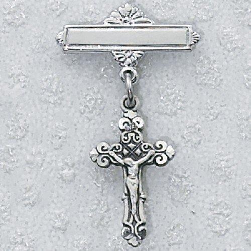 Rhodium Crucifix Baby Pin