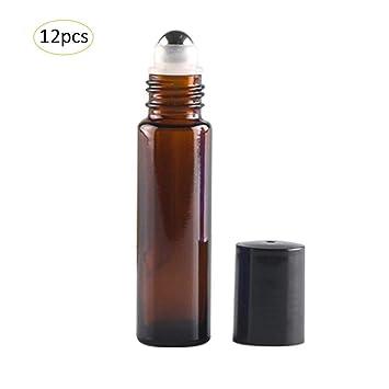 Botellas de rodillos de vidrio 12pcs Contenedor recargable para aceites esenciales Aromatherapy Fragancia Uso de viajes