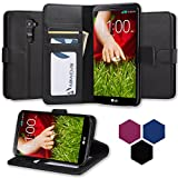 LG G2 Case, Abacus24-7 LG G2 Wallet Case [Book Fold] Leather LG G2 Cover [Flip Cover] with Foldable Stand, Pocket for ID, Credit Cards Slots and Clear Screen Protector - Black Flip Case for LG G2