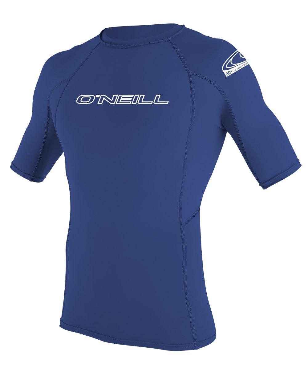 O'Neill Wetsuits Men's Basic Skins UPF 50+ Short Sleeve Rash Guard, Pacific, Medium
