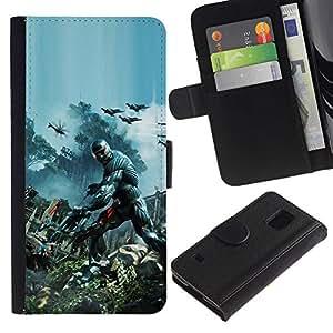 Protector de cuero de la PU de la cubierta del estilo de la carpeta del tirón BY RAYDREAMMM - Samsung Galaxy S5 V SM-G900 - Crisis Futuro Guerra Soldado
