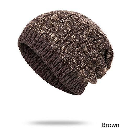 Hombres Sombrero Otoño C Moda Invierno Punto Grueso Gorro OUOCMZ Hombre De Cap De Capó Patchwork Sombreros Los Sombrero OBdICq