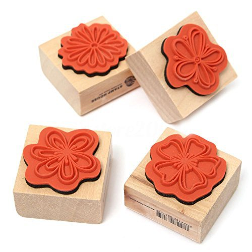 TOOGOO(R) 4pcs DIY Sweet Flowers Set Diary Scrapbook Floral Decoration Wooden Rubber Stamp (Stamp Rubber Floral)