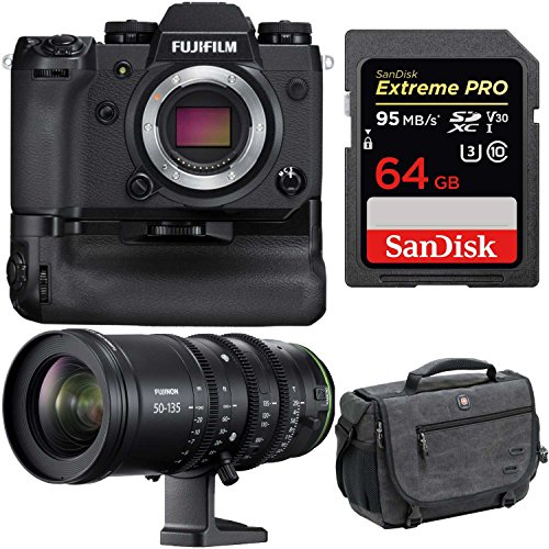 Fujifilm X-H1 4K Mirrorless Camera Body w|Vertical Booster Grip & MKX 18-55mm T2.9 Cine Lens Bundle