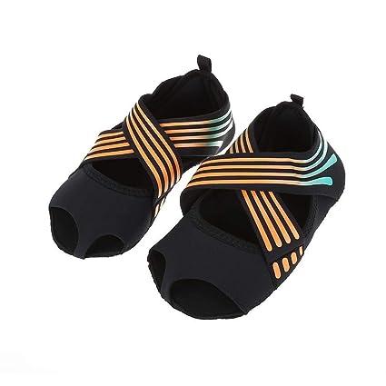 Calcetines de Yoga Mujeres Dedos Antideslizante Pilates Barre Envoltura Suave Zapatos de Entrenamiento de Baile Naranja para Pilates y Yoga