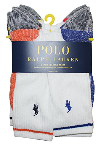 Polo Ralph Lauren 6-Pack Marled Sole Grey Heel/Toe Athletic Crew Sock, White Assorted