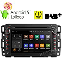 "XTRONS 7"" Android 5.1 Lollipop Quad Core HD Touch Screen Car Stereo Radio DVD Player with GPS Navigator Bluetooth Screen Mirroring Function OBD2 Tire Pressure Monitoring for GMC Chevrolet"