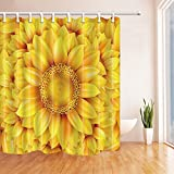 Flower Decor Shower Curtains By KOTOM Sunflower Floral Zoomed Pattern Bath Curtains, 72X72 Inches, Yellow