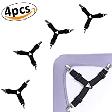 Bed Sheet Fasteners Adjustable Triangle Elastic Suspenders Gripper Sheet Corner Holder Straps Clips for Mattress Pad Covers,Sofa Cushion (4pcs)
