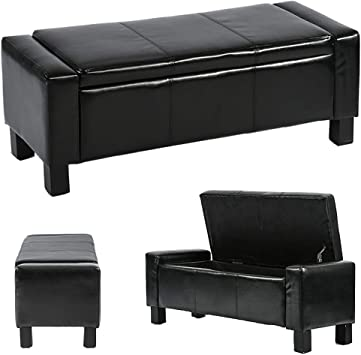 Ottoman Storage Ottoman Bench Bedroom Bench with Faux Leather Rectangular  Large 42\