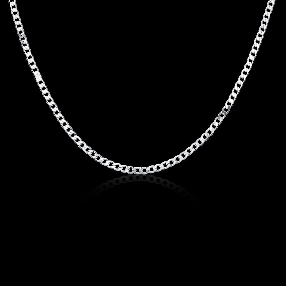 DUANMEINAD Mens 4mm Solid Sterling Silver .925 Curb Link Chain Necklace Diamond-Cut Cuban Curb Chain Necklace 16-30