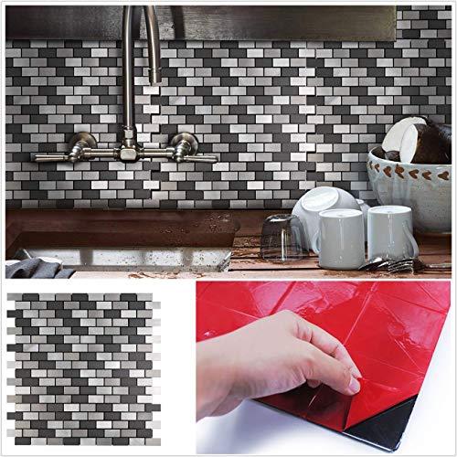 HomeyStyle Black&Grey Subway Stripe Peel and Stick Tile Metal Backsplash for Kitchen Bathroom Stove Walls Self-Adhesive Aluminum Surface Metal Mosaic Tiles 3D Wall Sticker,Pack of 5 Tiles 12