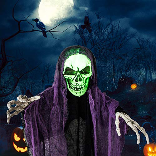 4 Ft. Hanging Grim Reaper, Hanging Ghost Halloween Prop for Haunted House Decorations