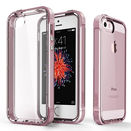 PLESON iPhone SE Case, [Crystal Bumper] iPhone SE / 5S / 5 Case Cover, Dual Layer Case [Free Screen Protector] [Drop Protection] TPU/PC Bumper Anti-Scratch Clear Protective Case for iPhone 5s/5/SE