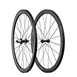 ICAN 700C Aero Carbon Wheelset 40mm Clincher Tubeless Ready for Road Bike 25mm Wide 1498g