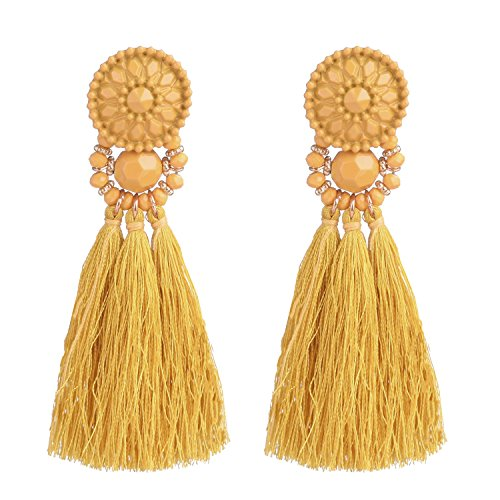 D EXCEED Womens Fashion Statement Thread Tassel Earrings Bohemian Handmade Facet Bead Chandelier Earrings Tassel Dangle Drop Earrings Yellow