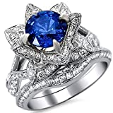 Smjewels 2.65 Ct Round Blue Sapphire Lotus Flower CZ Diamond Ring Bridal Set 14K White Gold Fn