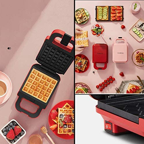 CJSWT Sandwich Maker Gaufrier, 600W Press Grill avec détachables plaques antiadhésives, poignée, témoins Lumineux Cool Touch, Facile à Nettoyer, Rose