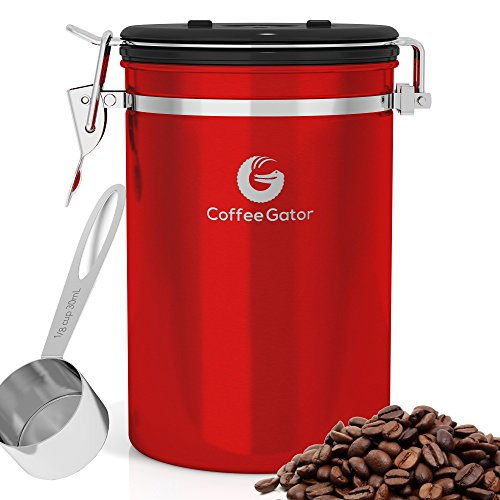 Coffee Gator Large Stainless Steel Coffee Canister with eBook and Scoop (Coffee Container Vaccum compare prices)