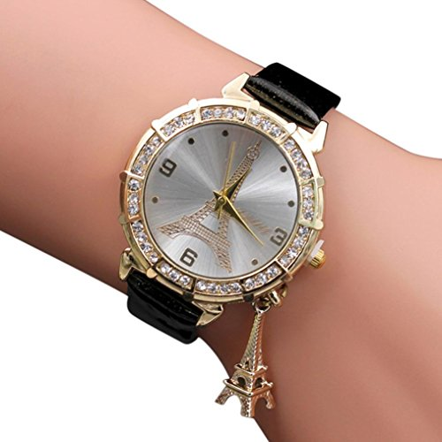 Women Elegant Quartz Watches Fashion Eiffel Tower Rhinestone Wrist Watches with Pendant (Black) (Fossil Round Pendant)