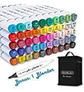 Shuttle Art 51 Colors Dual Tip Alcohol Based Art Markers, 50 Colors plus 1 Blender Permanent Mark...