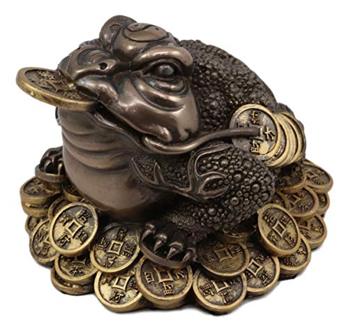 Ebros Bronze Patina Resin Feng Shui Jin Chan Fortune Money Frog Statue Talisman Lucky Toad Standing On Gold Coins Auspicious Figurine Charm Sculpture - Talisman Coin Money Lucky
