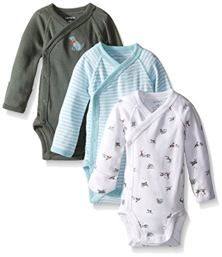 Carter's 3 Pack Side Snap Bodysuits (Baby) - Olive-3 Months