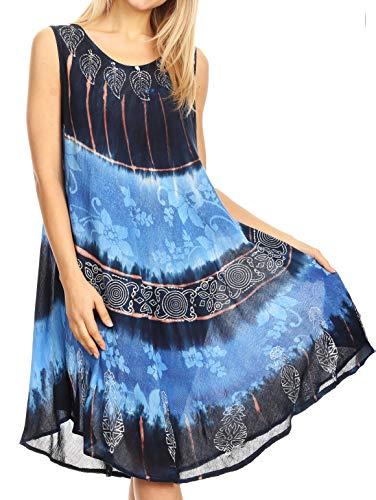 (Sakkas 18156 - Daniella Women's Flowy Tie Dye Relax Caftan Tank Dress Cover up Sleeveless - Navy Blue - OS)
