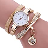 Inkach Women Leather Rhinestone Analog Quartz Wrist Watches Sport Watch Gift (Beige)