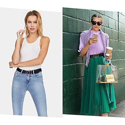 WERFORU Ledergürtel für Damen mit Goldene Schnalle Mode Doppel Rund Schnalle Gürtel Vintage Llässiger Hüftgürtel Taillengürtel für Jeans Hosen Kleider schwarz