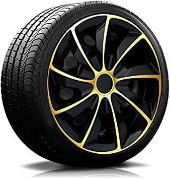 Rkk02 Multi Color Line Hub Caps Wheel Trims Black Gold Set Of 4 Black Gold Auto
