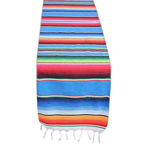 RubyShopUU 14x84 Inch Mexican Serape Table Runner Cloth Cover for Mexican Tablecloth Party Wedding Decoration Fringe Cotton Table Runner
