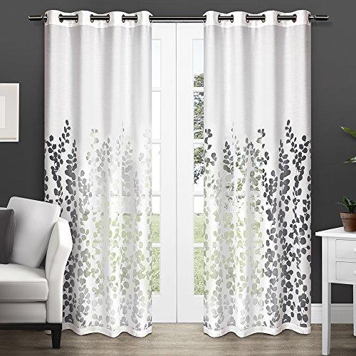 Exclusive Home Wilshire Burnout Sheer Grommet Top Window Curtain Panels – 54″ x 84″, Sold As Set of 2 / Pair