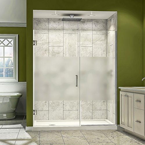 """UPC 849388017398, DreamLine Unidoor Plus 43 1/2-44 in. Width, Frameless Hinged Shower Door, 3/8"""" Glass, Brushed Nickel Finish"""