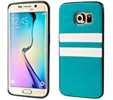 S6 Edge Case,Samsung Galaxy S6 Edge Case [ Slim Fit Series] Leather and TPU Hybrid Lightweight Drop Protection Bicolor Cover Case for Samsung Galaxy S6 Edge G9250 - Aqua Blue