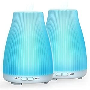 BAXIA TECHNOLOGY Essential Oil Diffuser, 100ml Cool Mist Diffuser Portable Ultrasonic Aroma Diffusers for Essential Oils, 8 LED Lights Waterless Auto Shut-off for Office Home Spa Baby Bedroom, 2 Pack