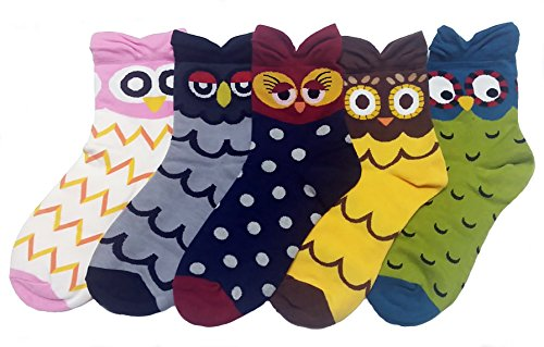 JJMax Women's Sweet Animal Socks Set with Thick Eared Cuffs One Size Fits All, 5 Fat Owls, One Size by JJMax (Image #6)