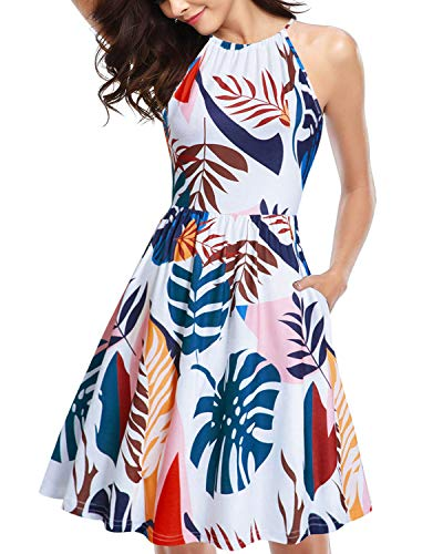 Print Halter Top Dress - KILIG Halter Neck Floral Sundress for Women Casual Tropical Summer Dresses with Pockets (Floral E,XL)