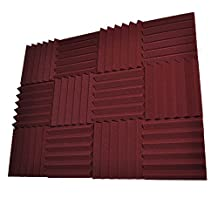 Seismic Audio - SA-FMDM2-Burgundy-12Pack - 12 Pack of 2 Inch Burgundy Studio Acoustic Soundproof Foam Sheets - Noise Cancelling Foam Sound Dampening Wedge Tiles