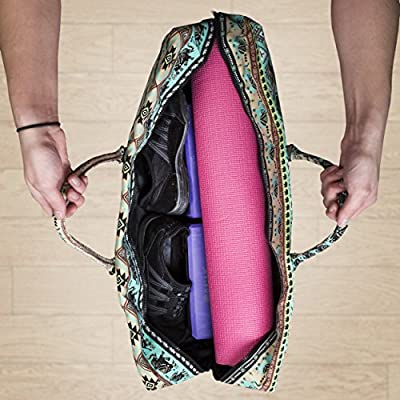 Yogi Path Yoga Mat Bag - Patterned Duffle Bag with Zipper and Pocket  (Bamboo). Loading Images... Back. Double-tap to zoom da23505c9965b
